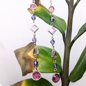 VTG Sterling Amethyst & Pink Quartz Long Earrings